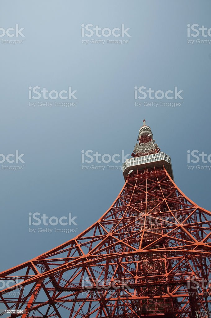 Tokyo Tower against blue sky royalty-free stock photo
