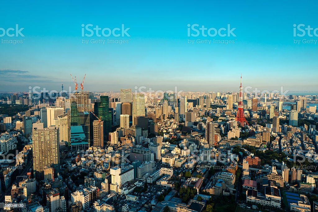 Tokyo Tower and skyline at dusk from Roppongi Hills royalty-free stock photo
