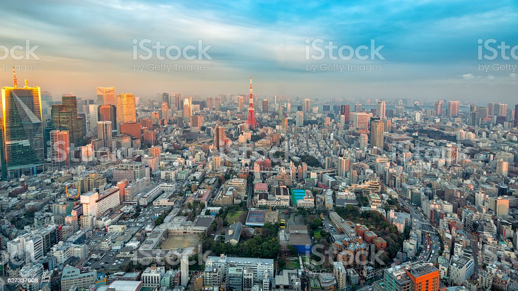 Tokyo Tower and Tokyo Cityscape stock photo