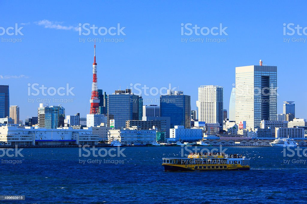 Tokyo Tower and water-bus stock photo