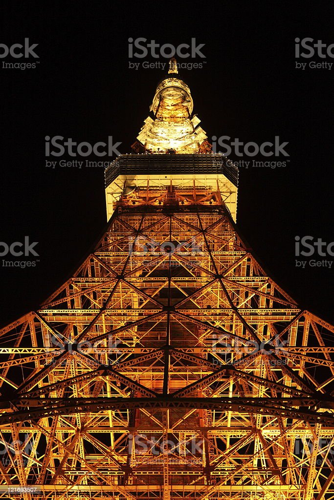 Tokyo Tower at night royalty-free stock photo