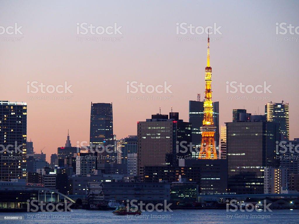 Tokyo Tower At Sunset, Tokyo, Japan stock photo