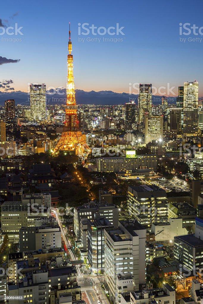 Tokyo Tower cityscape sunset stock photo