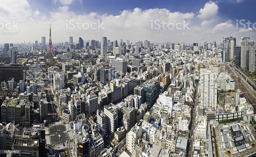 Tokyo Tower crowded cityscape streets and skyscrapers aerial panorama Japan stock photo