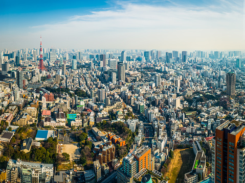 Tokyo Tower crowded skyscraper cityscape downtown rooftop aerial panorama Japan
