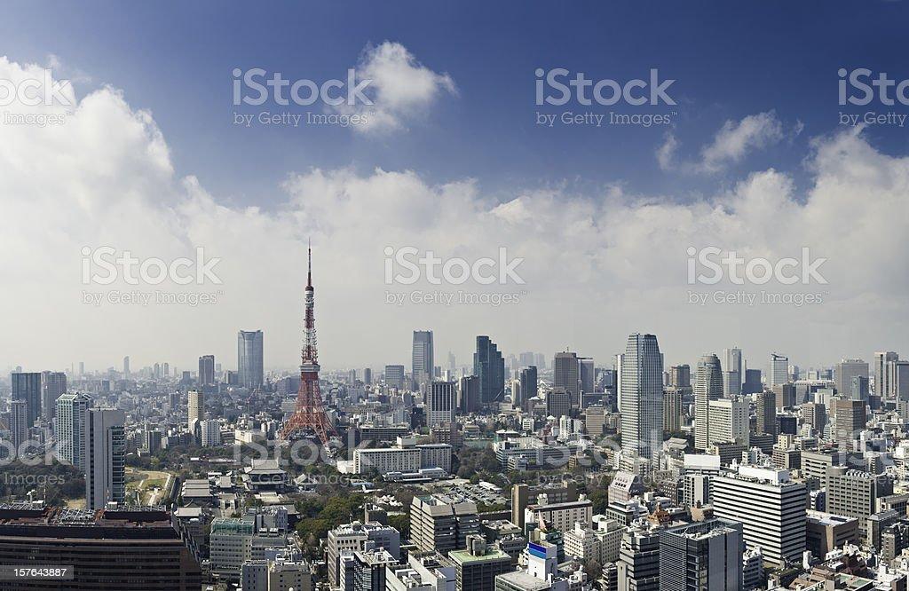 Tokyo Tower downtown skyscraper landmark capital city highrise panorama Japan stock photo