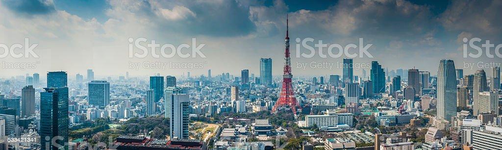Tokyo Tower futuristic skyscraper cityscape crowding central Tokyo Japan stock photo