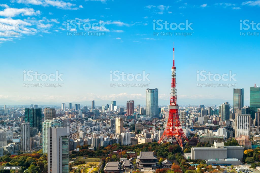 Tokyo tower, Japan -  Tokyo City Skyline and Cityscape stock photo
