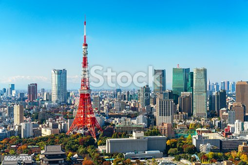 istock Tokyo tower, Japan -  Tokyo City Skyline and Cityscape 669545870