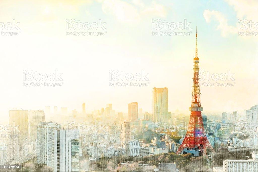 Torre de Tokio, símbolo de Japón, mezcla dibujados a mano dibujo ilustración - foto de stock
