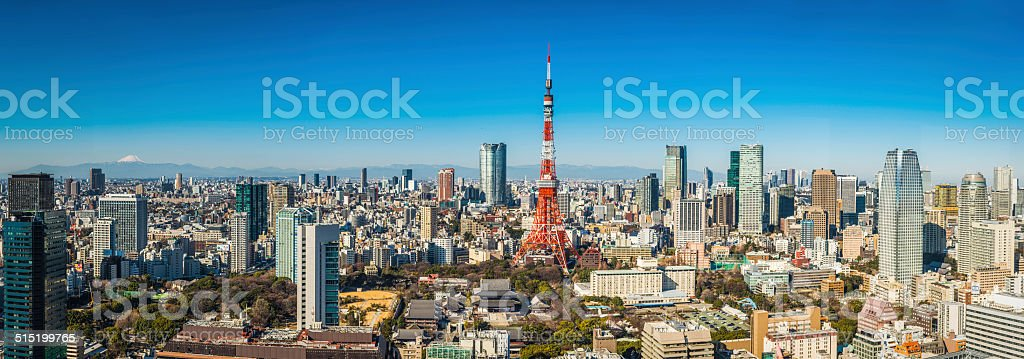 Tokyo Tower Mt Fuji and Roppongi skyscrapers crowded cityscape Japan stock photo
