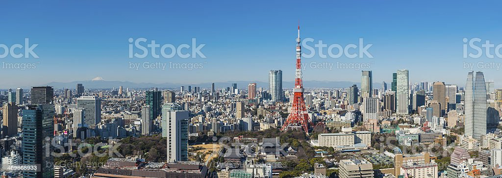 Tokyo Tower Mt Fuji overlooking downtown skyscrapers cityscape panorama Japan stock photo