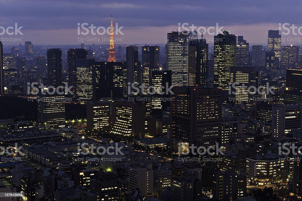 Tokyo Tower neon night city skyscrapers downtown lights Minato-Ku Japan stock photo