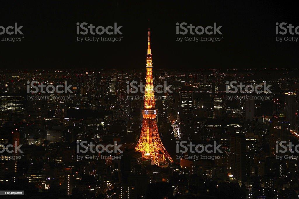 Tokyo Tower night horizontal royalty-free stock photo