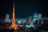 Tokyo tower .Night view of Tokyo metropolitan city