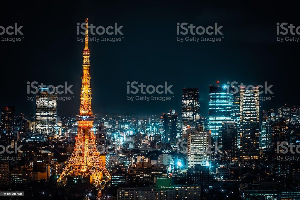 Tokyo tower .Night view of Tokyo metropolitan city stock photo