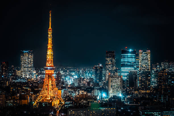 tokyo tower .night view of tokyo metropolitan city - tokyo japan stock photos and pictures