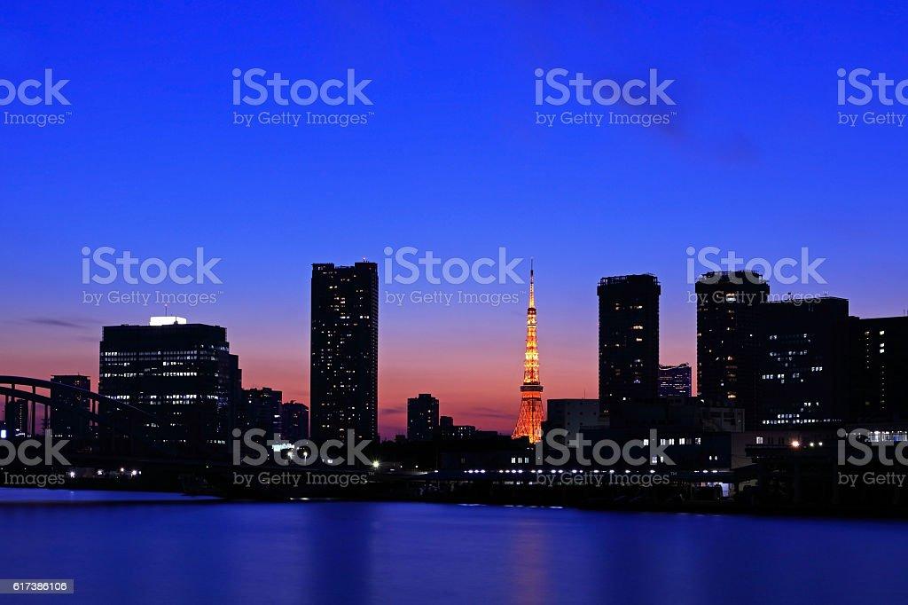 Tokyo Tower night view stock photo