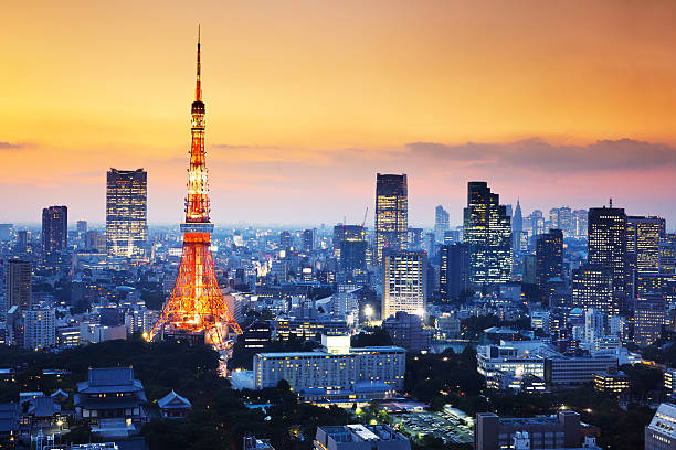 tokyo tower - tokyo japan stock photos and pictures
