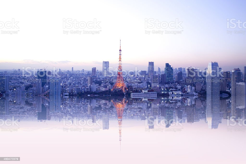 Tokyo tower reflection. stock photo
