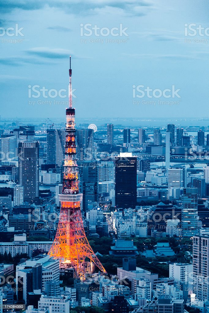 Tokyo Tower Skyline at Dusk stock photo