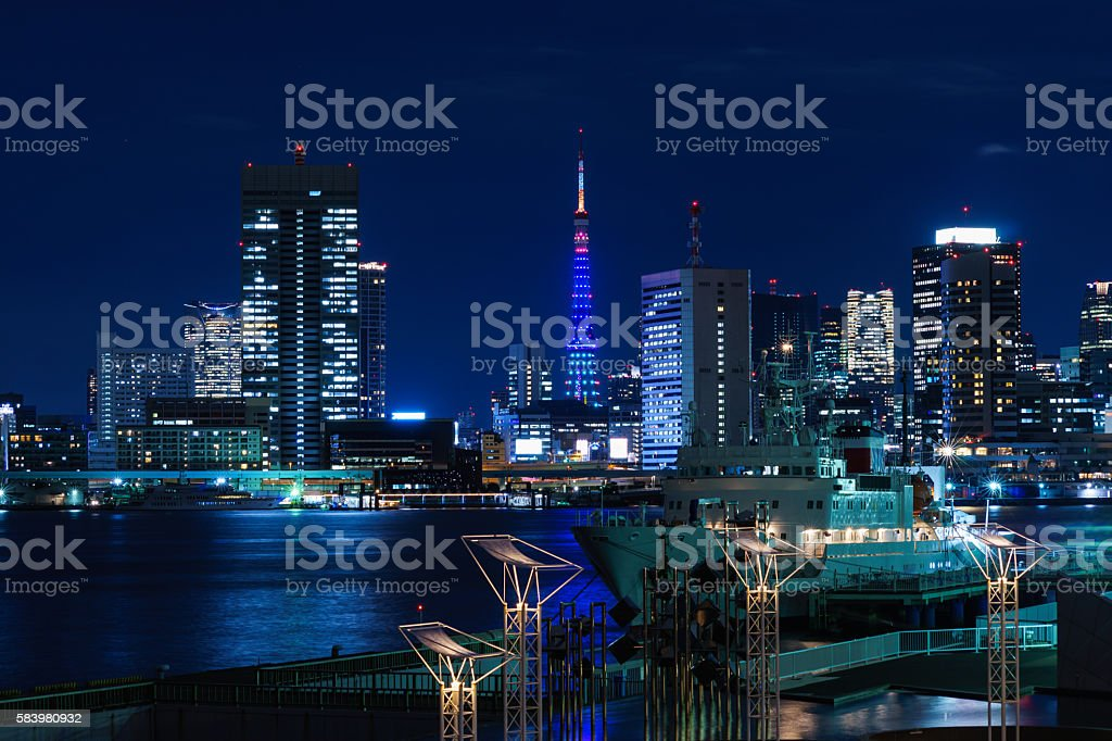 Tokyo Tower Special Lighting and High Rise Buildings ストックフォト