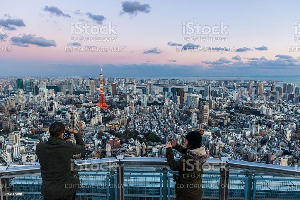 Tokyo Tower Tourists stock photo