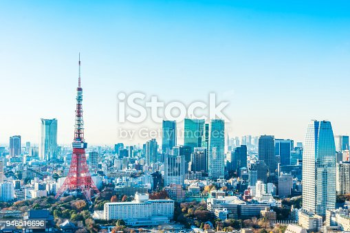 931105838 istock photo tokyo tower under blue sky and sunny day in hamamatsucho, Japan 946516696