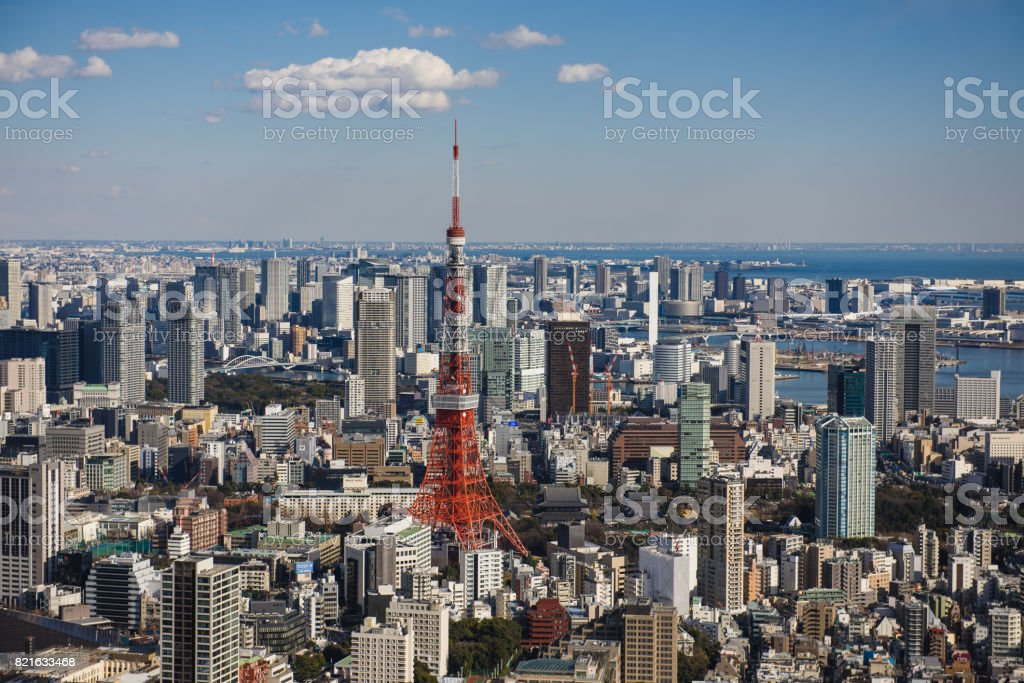 Tokyo Tower with skyline in Tokyo Japan stock photo