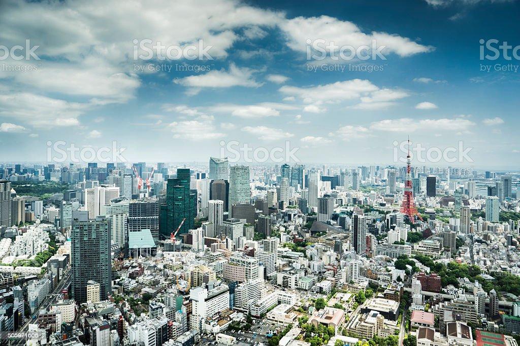 도쿄 스카이라인, 일본 royalty-free 스톡 사진