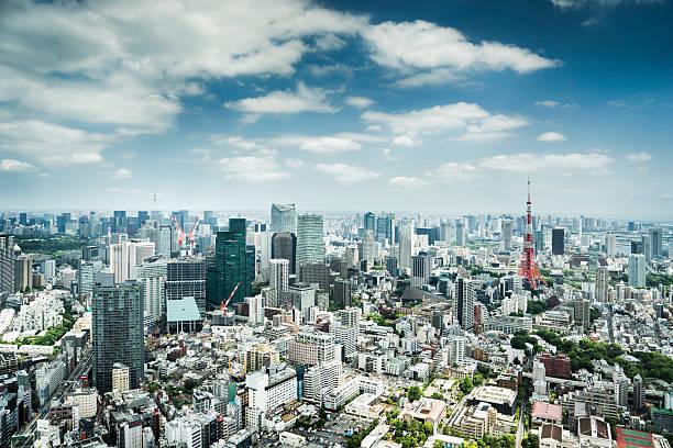 horizon de tokyo, japon - préfecture de tokyo photos et images de collection