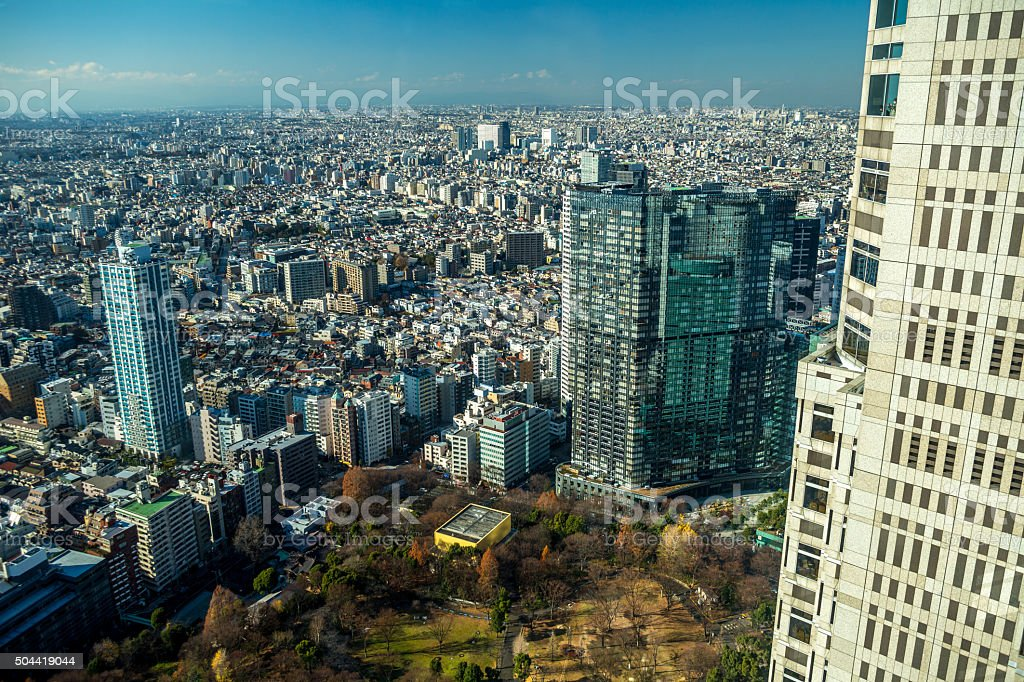 Tokyo view from Tokyo Metropolitan Government Building on sunny...