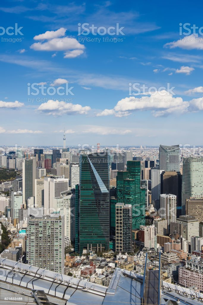 Tokyo with skyline in Tokyo Japan stock photo