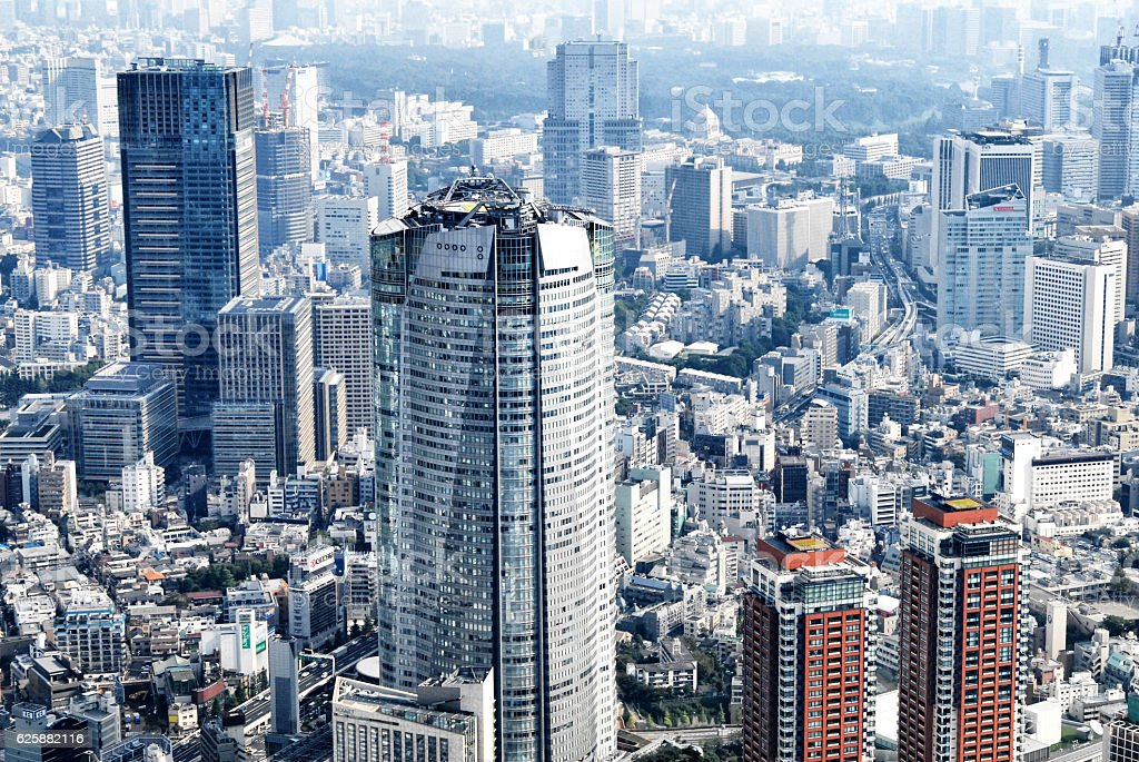 Tokyo,Japan,shooting from a high level; helicopter shot ストックフォト