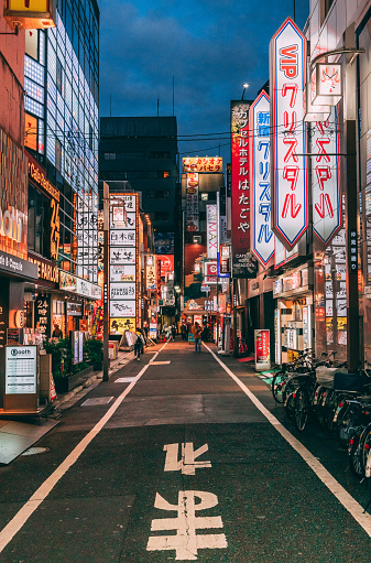 Shot of one of the alleys in the famous Shinjuku district in Tokyo, Japan.