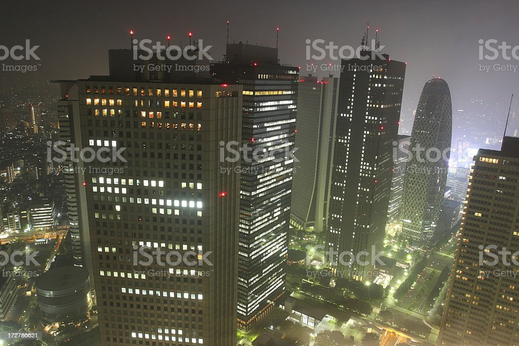 Tokyo's largest skyscraper district at night royalty-free stock photo