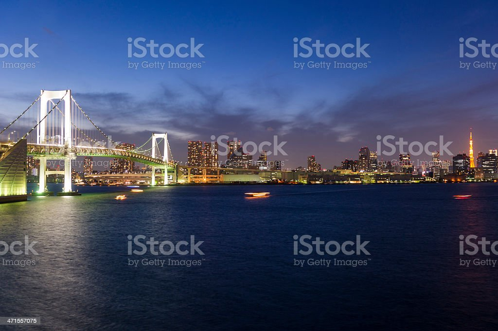 Tokyo`s Rainbow Bridge royalty-free stock photo