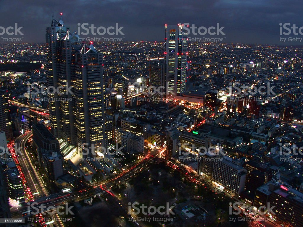 Tokyo's skyscrapers and buildings by night royalty-free stock photo