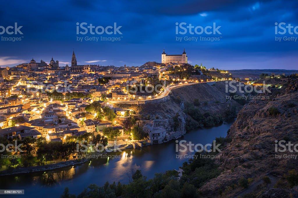 Después del atardecer de Toledo, Castile-La Mancha, España foto de stock libre de derechos