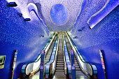 Interior of Toledo metro station in Naples, Italy