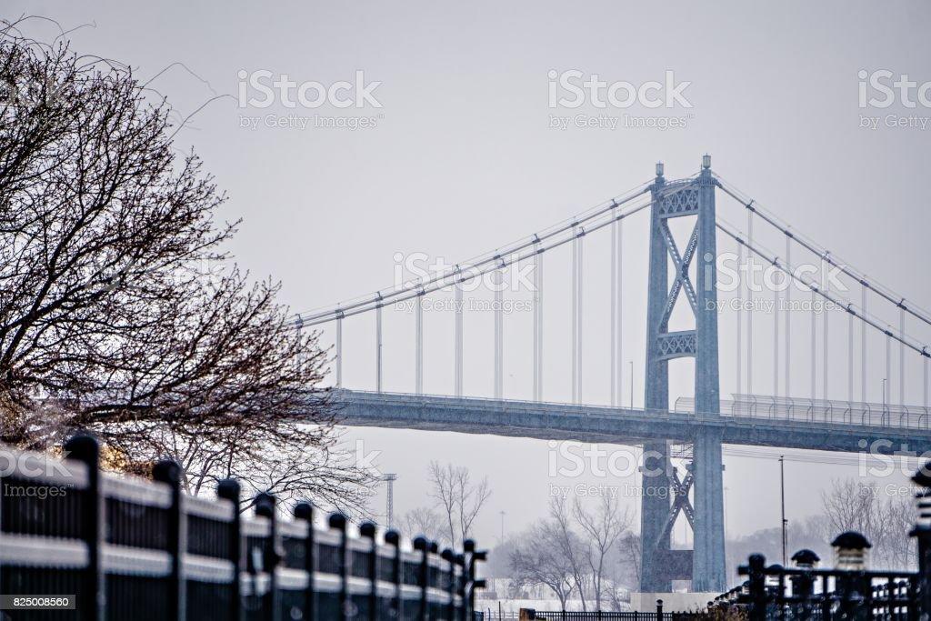 toledo ohio city skyline and bridges around downtown stock photo