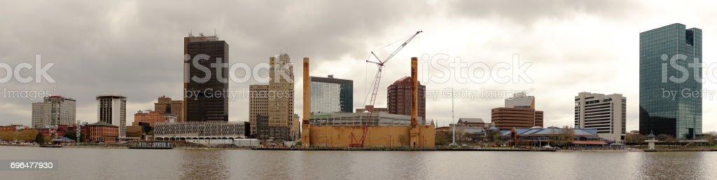 Toledo Ohio Downtown City Skyline Maumee River stock photo