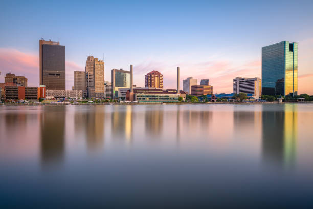 Toledo, Ohio, USA Skyline on the River stock photo
