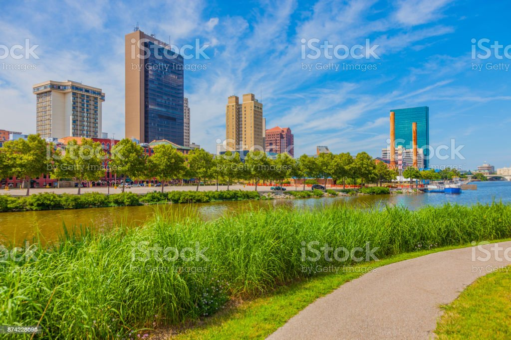 Toledo Ohio with Maumee River in spring stock photo