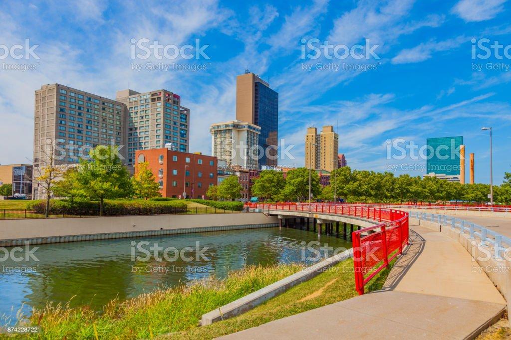 Toledo Ohio mit Maumee River im Frühjahr – Foto