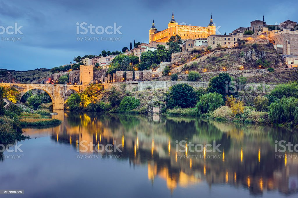 Toledo, Spain on the Tagus River stock photo