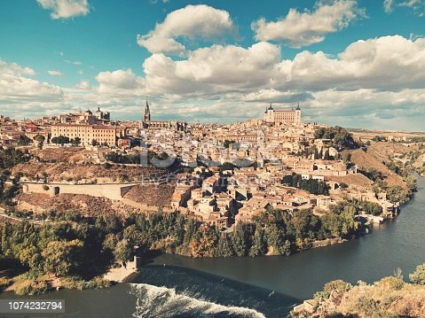 Toledo cityscape on an autumn day.