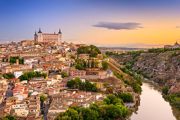Toledo, Spain Toledo, Spain old city over the Tagus River. spain stock pictures, royalty-free photos & images