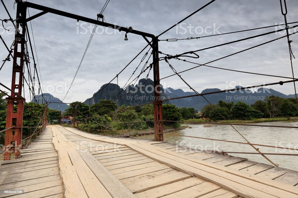 Toll bridge section 1-Nam Song river. Vang Vieng-Vientiane province-Laos. 4645 royalty-free stock photo