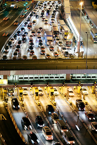 Toll gates, Hong Kong, night time aerial view stock photo